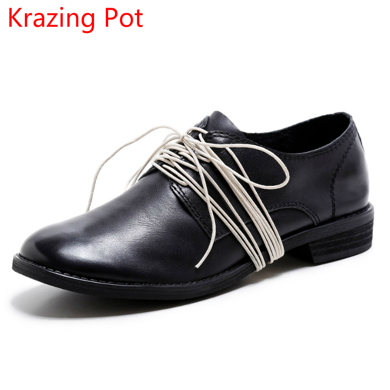 Fashion Brand Winter Shoes Genuine Leather Round Toe Lace Up Med Heel Retro Women Lazy Autumn Casual European Lady Pumps L13 2017 new women shoes genuine leather casual shoes flats breathable lace up soft fashion brand shoes comfortable round toe white