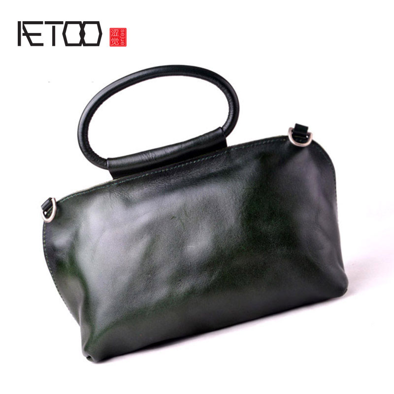 AETOO New handmade bags tide original design handbag leather ladies retro hand bag shoulder diagonal package aetoo the new retro mad horse skin backpack fashion shoulder shoulder leather package tide package