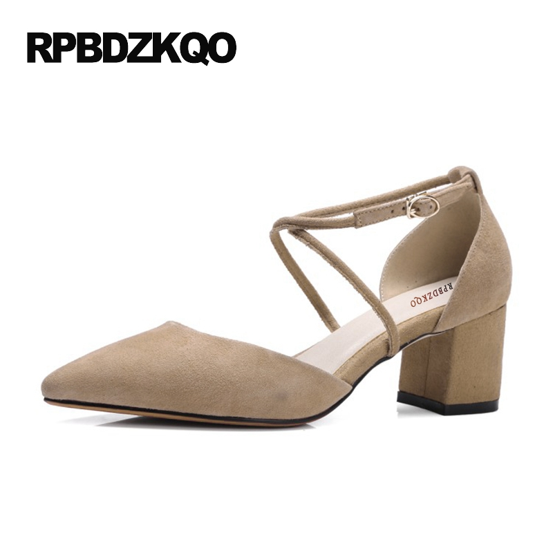 1f62e2c04b Ladies Pumps Vintage Genuine Leather Thick Cross Strap High Heels 6cm 2 Inch  Mary Janes Women