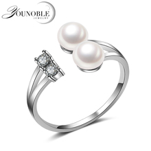 Wedding real natural freshwater double pearl ring for women,925 sterling silver ring pearl anniversary gift daimi 925 silver pearl ring double ring design freshwater pearl five pearl rings