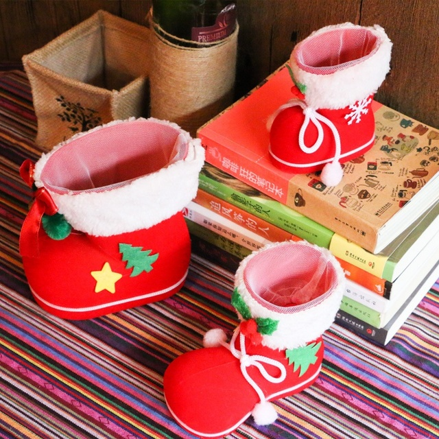3 pcs red bootie for christmas gifts christmas candy boot christmas decorations xmas baby gifts stockings - Christmas Candy Decorations