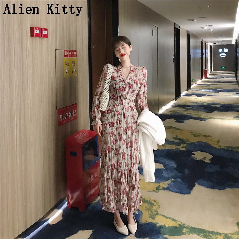 Alien Kitty Pink Print Floral Casual Waist-Controlled Loose Long Sleeves Summer Sweet Simple Women All-Match Ankle Length Dress