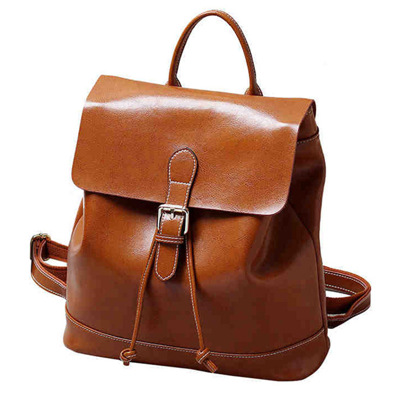 Women Backpack Genuine Leather Backpack Minimalist Vintage Sac A Dos Femme Bag Feminine Backpack School Bag For Teenage Girls british style printing vintage backpack female cartoon school bag for teenagers high quality pu leather backpack sac a dos femme