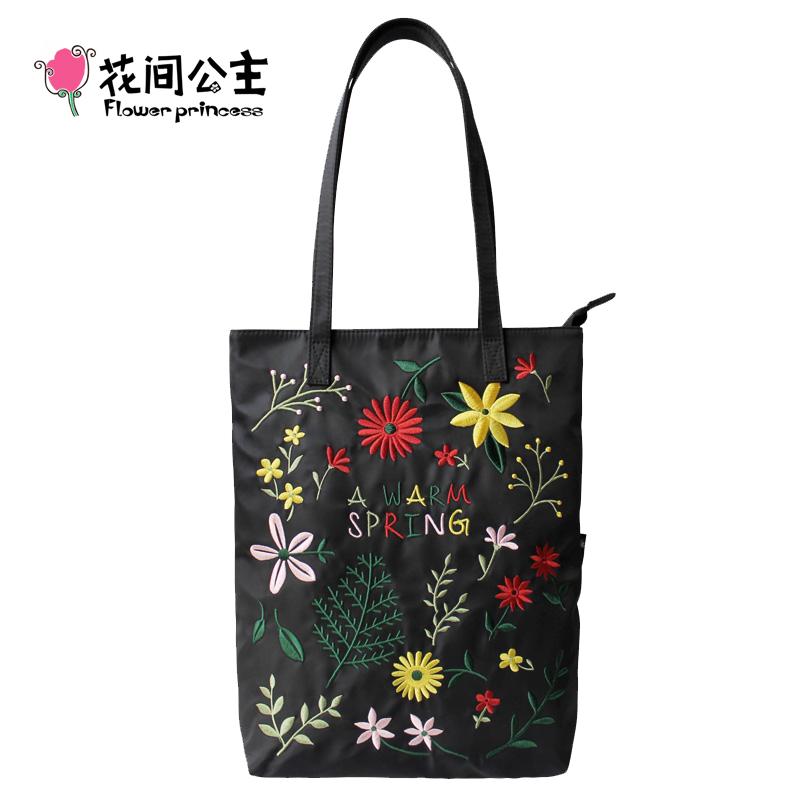 Flower Princess 2017 New Embroidery Women Nylon Shoulder Bag Girls Hobo Tote Bags Summer Handbag Multi Pocket Floral Hand Bags chinese women handbag embroidery ethnic summer handmade flowers ladies tote shoulder bags cross body bag