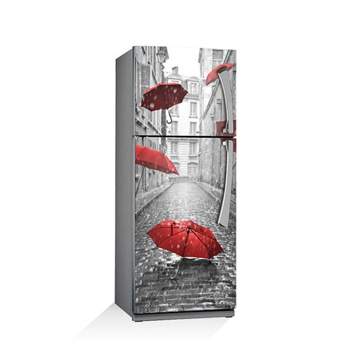 Fridge Sticker Rain Red Umbrella Refrigerator Dishwasher Vinyl 3d Wall Stickers Wall Decal Kitchen Decoration Door Wrap(China)