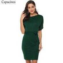 9bd8c07701b Capucines Casual estilo sólido fajas otoño Vestido Mujer cuello redondo manga  corta Vestido de punto Split