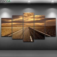 Canvas Wall Art Modular Pictures Frame Home Decor Living Room Painting 5 Panel Highway Sunset Landscape