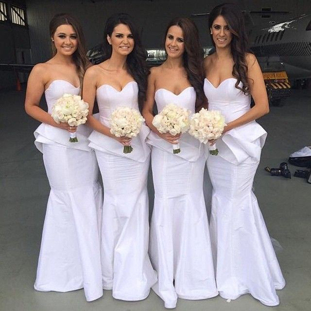 White Purple Bridesmaid Dress With Pleat Peplum Mermaid Satin Y Sweetheart Neckline Long Maid Of Honor