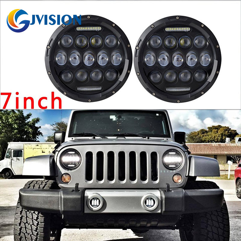 2x 7inch 75W 7 LED Headlight H4 H13 DRL HIGH LOW BEAM For JEEP JK Wrangler Hummer H1 H2 LED Projector Driving Lamps led 75w headlamp 7inch round chrome 6000k high low beam motorcycle led headlight for jeep wrangler hummer off road