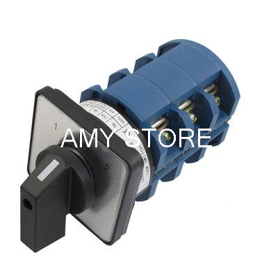 AC 660V 63A 12 Terminals 3 Positions Latching Rotary Cam Changeover Switch thgs 8 terminals 5 positions master control rotary cam switch 20a black blue