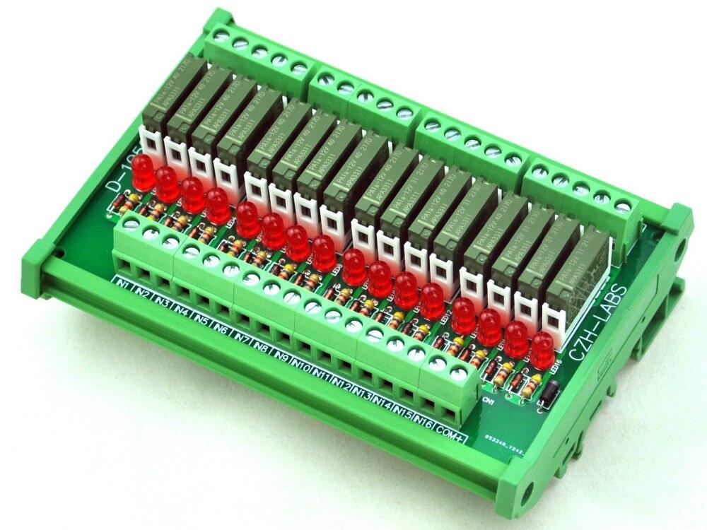 Slim DIN Rail Mount DC12V Sink/NPN 16 SPST-NO 5A Power Relay Module, PA1a-12VSlim DIN Rail Mount DC12V Sink/NPN 16 SPST-NO 5A Power Relay Module, PA1a-12V