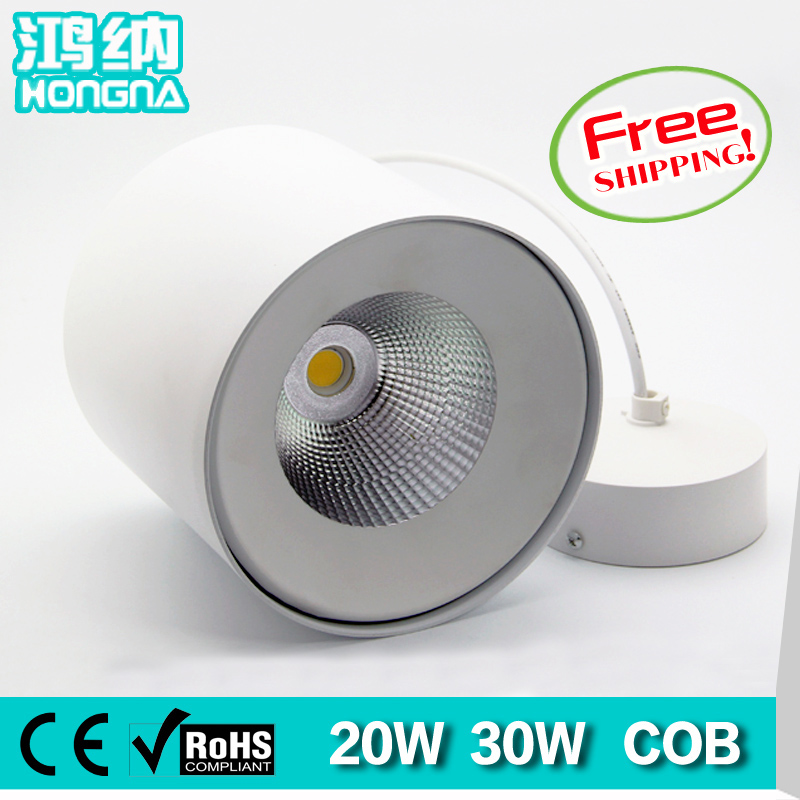 ФОТО AC110-220V High Quality LED Downlights COB 20W 30W LED Lights 100-110lm/W Warm White/Cold White Surface Mounted Downlights