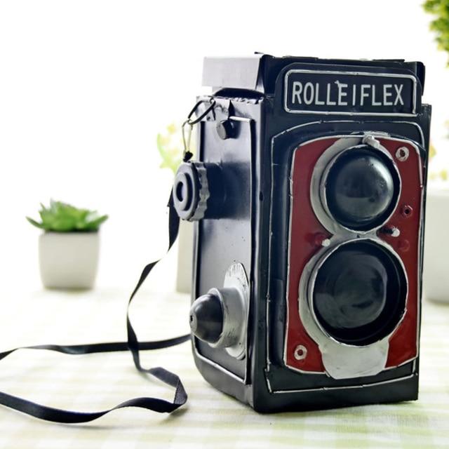 Shabby Chic Tin Camera Model Piggy Bank Desktop Showcase Decoration ...
