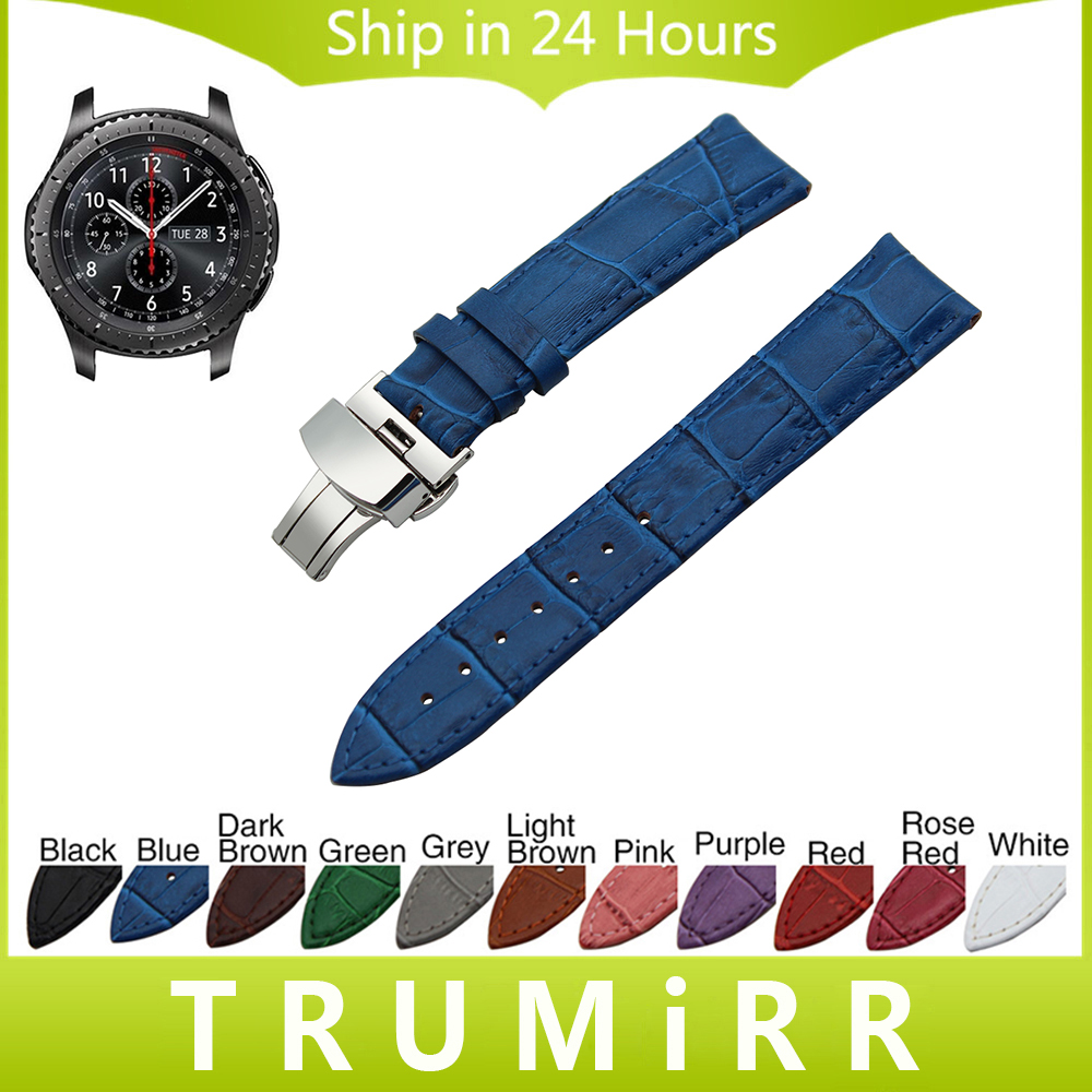 22mm Genuine Leather Watch Band Butterfly Buckle Strap for Samsung Gear S3 Classic Frontier Garmin Fenix Chronos Wrist Bracelet france genuine leather watchband for samsung gear s3 classic frontier r760 770 double color watch band quick release wrist strap