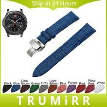 22mm de cuero genuino reloj band butterfly correa con hebilla para samsung gear s3 classic frontera garmin fenix chronos pulsera de la muñeca