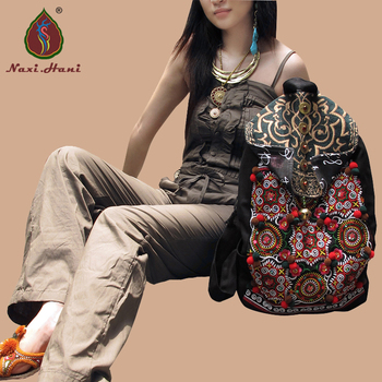 Hot selling  Ethnic handmade embroidery backpack, Fashion Vintage Women  Black canvas Travel Bags
