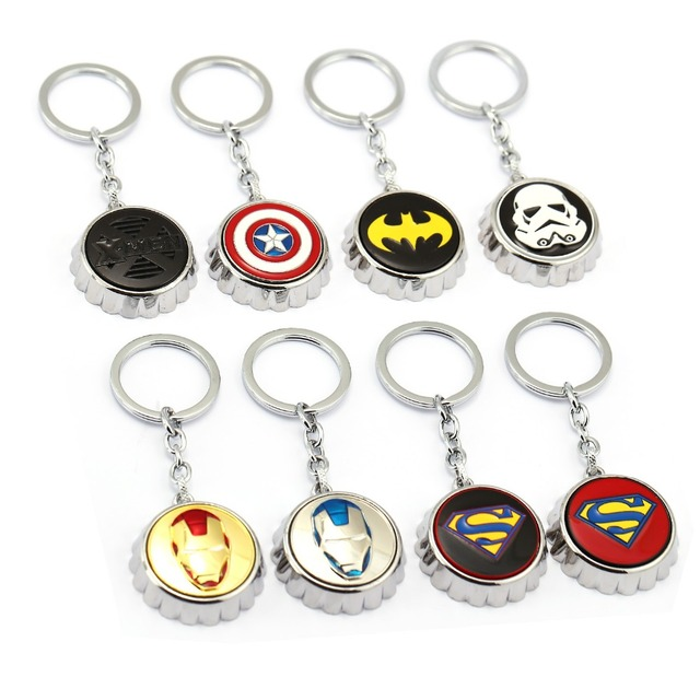 8pcs/lot The Avengers series super hero Bottle Opener Keychain  Fashion Keyring deadpool iron man  Bottle Cap Key Holder