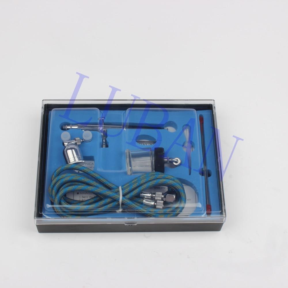 Portable 0.2mm / 0.3mm / 0.5mm Needles & Nozzles Dual Action Airbrush Air Compressor Kit Craft Paint Art Spray Gun Set LUBAN
