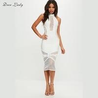 Deer Lady Bodycon Vestidos Bandage Dress 2018 White Lace Bandage Dress Rayon Sexy See Through Cut
