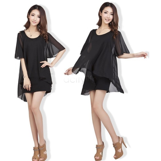 Hot Ladies Fashion Short Sleeve Layered Stylish Short Chiffon ...