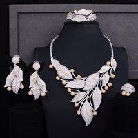 SISCATHY Luxury Cubic Zirconia Leaves Nigerian Jewelry sets For Women Indian Dubai Statement Bridal Wedding Jewelry Sets 2019