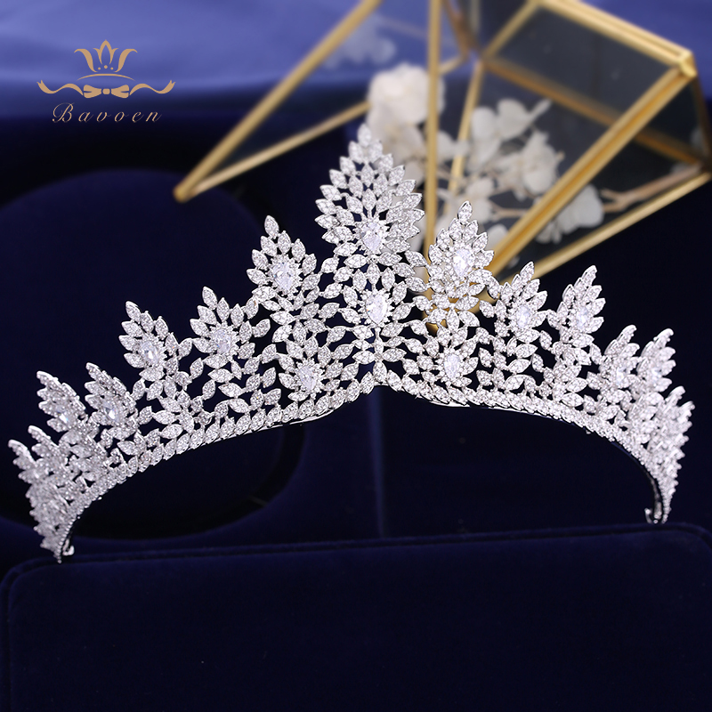 Zircon คริสตัลเจ้าสาว Tiaras Crowns เงิน Hairbands Royal Princess Evening ผมเครื่องประดับเครื่องประดับ-ใน เครื่องประดับผม จาก อัญมณีและเครื่องประดับ บน   1