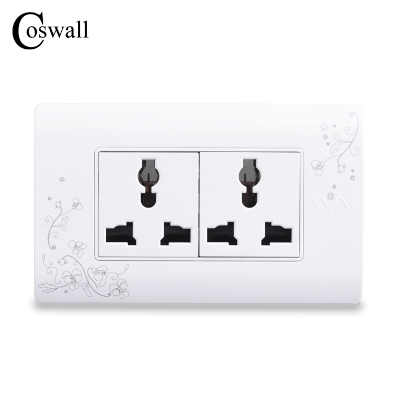COSWALL Universal Plug Simple Style Wall Electrical Socket Multi-function 6 Hole Power Outlet With Child Protective Door