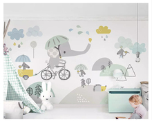 beibehang Custom fashion personality silky papel de parede 3d wallpaper color hand-painted elephant childrens room background