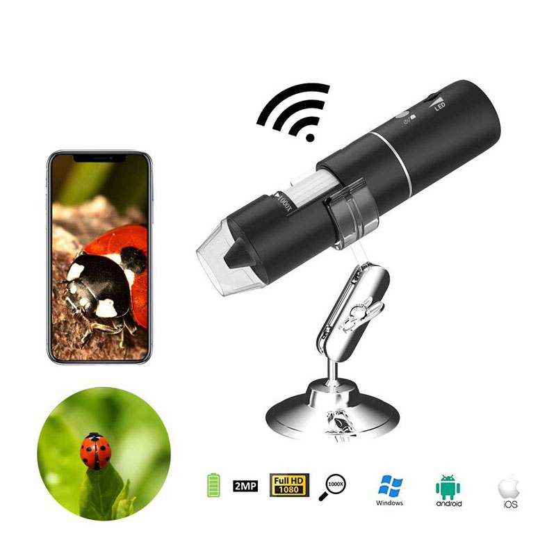 Wifi Digital Microscope 1000X 1080P Digital Microscope Zoom Camera 8LED With Stand Microscope For Android IOS iPhone iPad