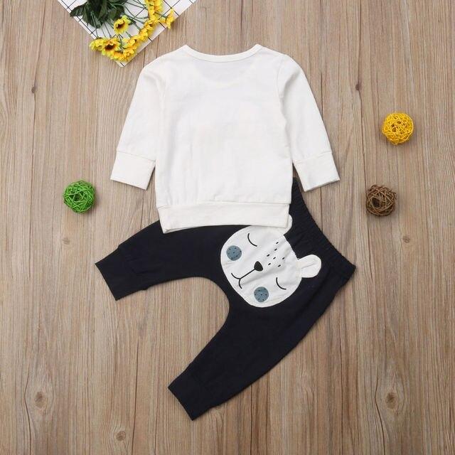 Baby Boy's White Bear Sweatshirt and Pants Set 4