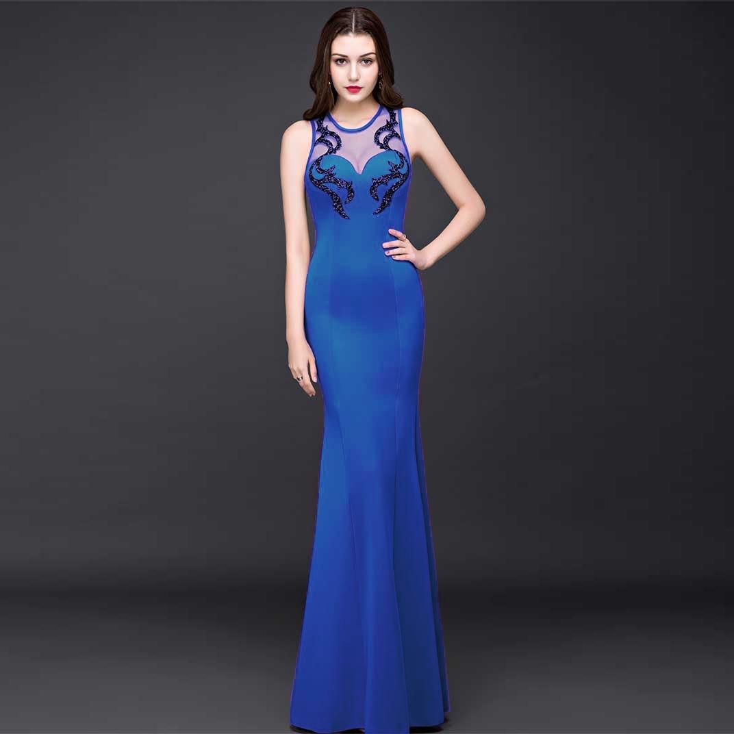 Discount Designer Evening Dresses: Cheap Long Blue Mermaid Evening Dresses Sweetheart Beaded