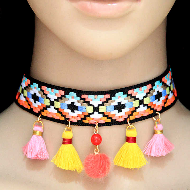 Ethnic Knitted Rope Chan Choker Necklace for Women Colorful Tassel Statement Necklace Wedding Party Boho Indian Jewelry Gift