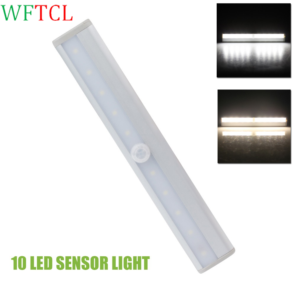LED Night Lights Motion Sensor Activated IR Infrared Wireless 10 LEDs White LED Closet Lights with adhesive tape Wardrobe Lights