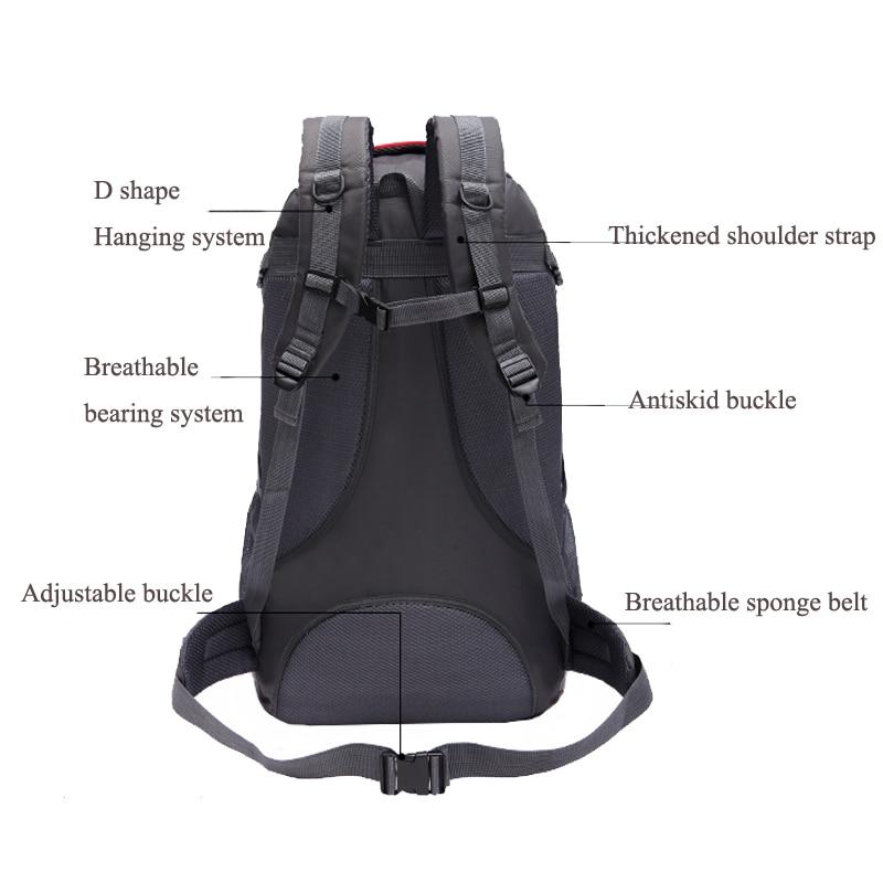 Waterproof Men'S Backpack 60L Softback Travel Backpack Travel Bag Large Backpack Camping Bag Waterproof Men'S Bags Schoolbag 5