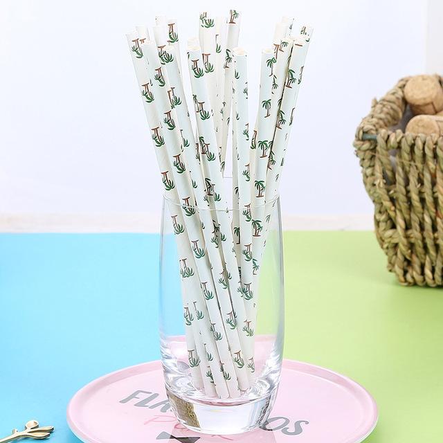 25pcs Cactus Print Paper Straws
