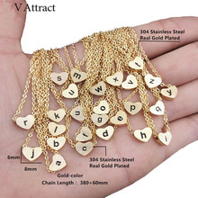 V Attract Stainless Steel Chain Initial Choker Vintage Jewelry Rose Gold o p q r s t u v w x y z Heart Letter Charm Necklace