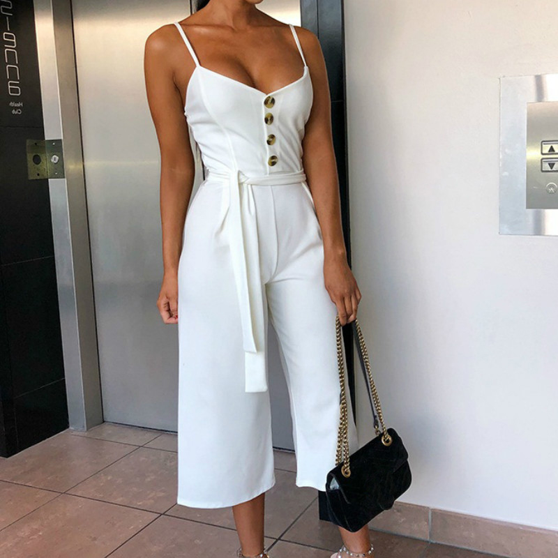 Summer Rompers Sexy Spaghetti Strap Lace Up   Jumpsuits   Sashes White Party   Jumpsuit   Casual 2019 Fashion   Jumpsuits   Women Spring