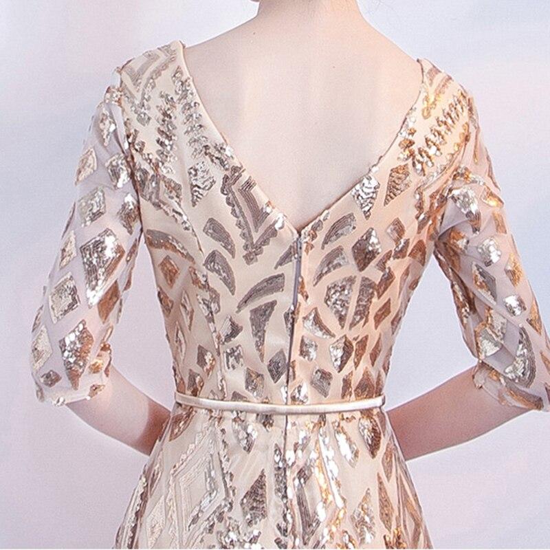 DongCMY 2019 новое длинное официальное элегантное платье с блестками, платья знаменитостей золотого цвета, женское платье со звездами со средним рукавом