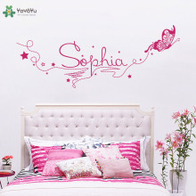 YOYOYU Vinyl Wall Decal Beautiful Butterfly Personalized Custom Girl Name Kids Bedroom Home Decoration Stickers FD303