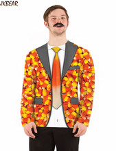 2016 Halloween Gift Funny 3D Fake Candy Corn Suit Blazer Print Long Sleeve T Shirts for Men Hilarious Ugly Christmas Tee M-L