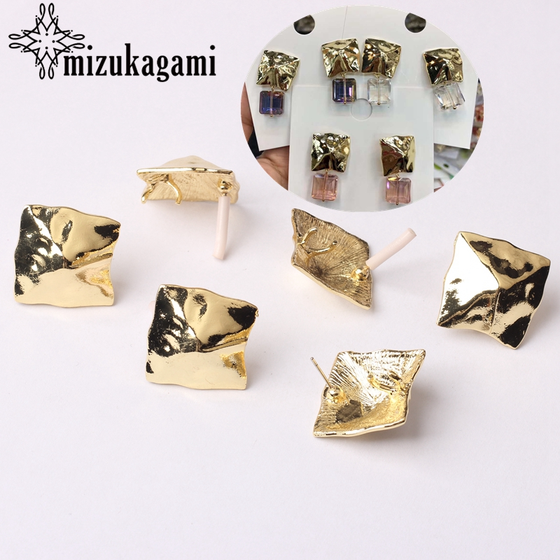 Zinc Alloy Golden 3D Square Geometric Earrings Base Connectors Linker 6pcs/lot For Fashion Earrings Jewelry Making Accessories