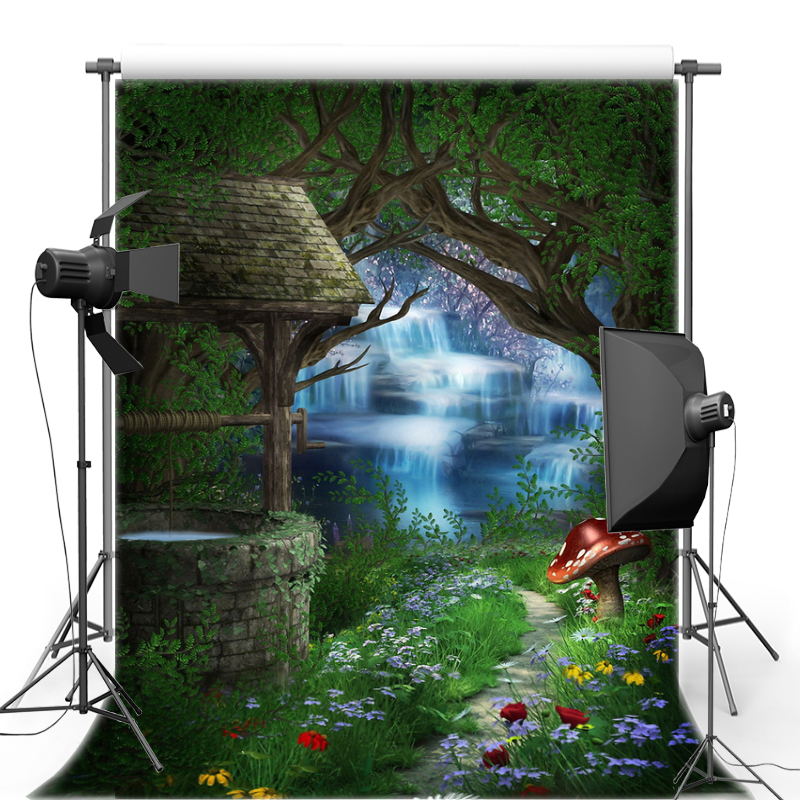 Alice in Wonderland Mushroom Forest Waterfall Vinyl Photography Background New Fabric Flannel backdrop For Photo studio F1628 vinyl wonderland photography backdrop