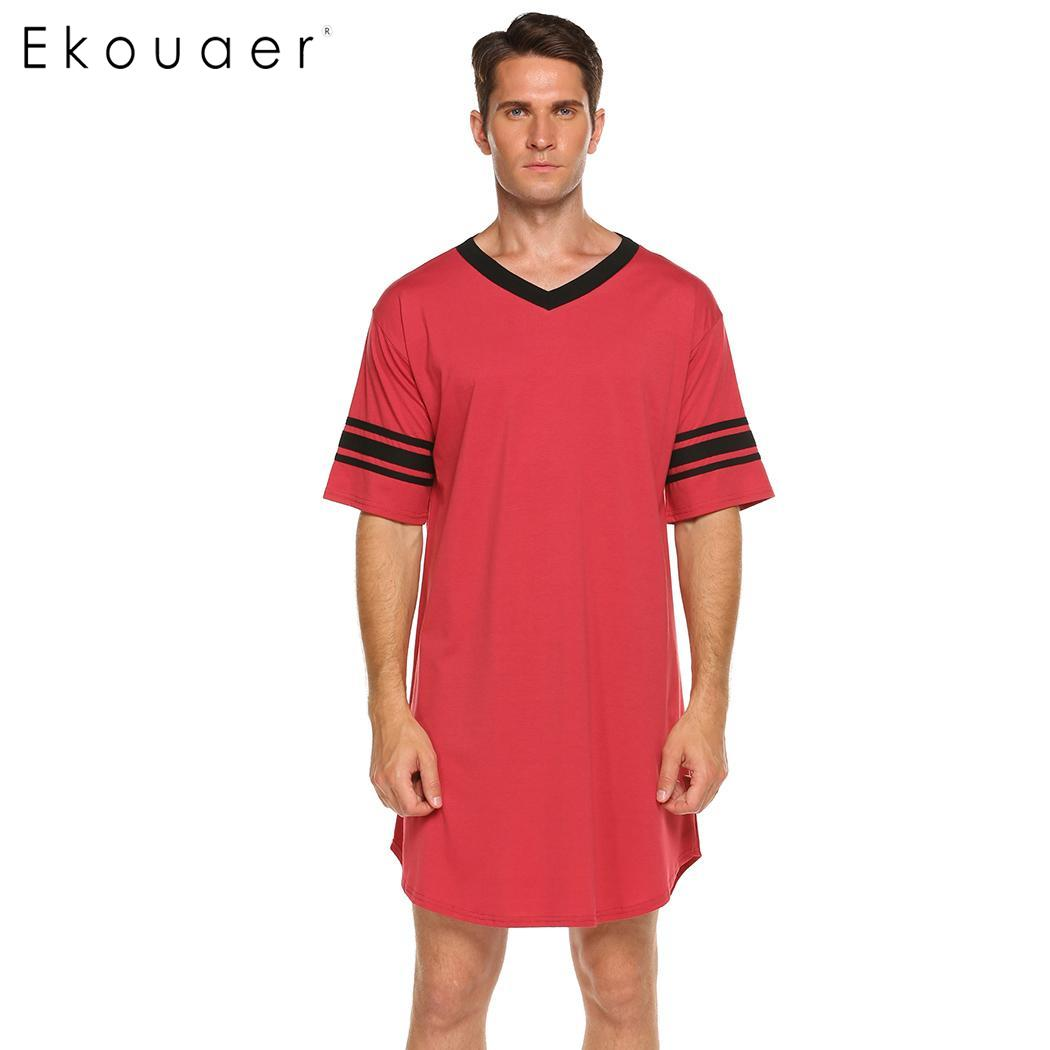 572223a550 Dropwow Ekouaer Men Sleepwear Long Nightshirt Short Sleeve Nightwear ...