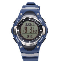 SUNROAD New FR826 Digital Watch Men Altimeter Multifunction Watch Men Style Blue Compass Pedometer LED Watches PU Strap Clock