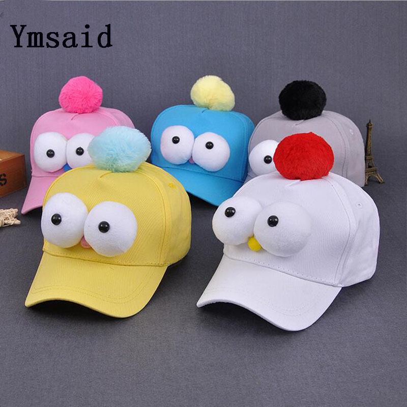 Ymsaid Dream Shining Hat Funny Big Eyes Boy Baseball Cap Summer Girl  Hairball Visor Hats Candy Color Child Caps Accessories 94ad63ad918