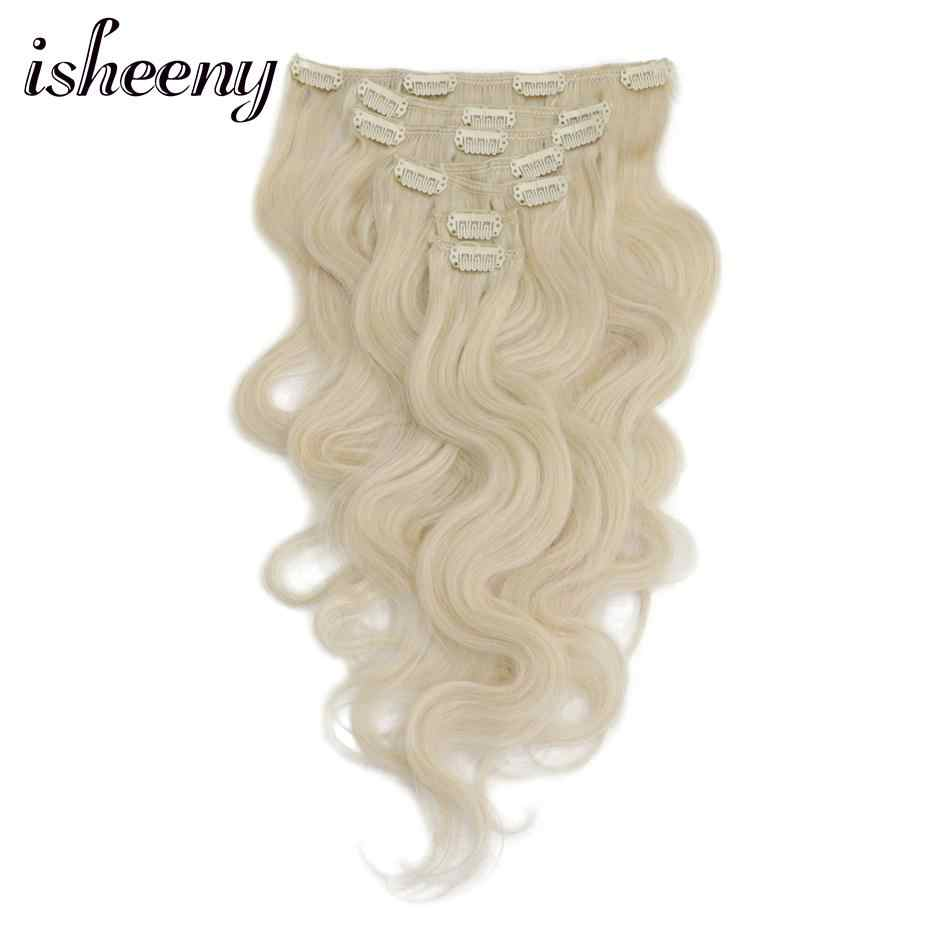 "Isheeny 14""-18"" Body Wavy Clip-in Hair Extensions 7pcs/set Remy Human Hair Clip In Extensions"