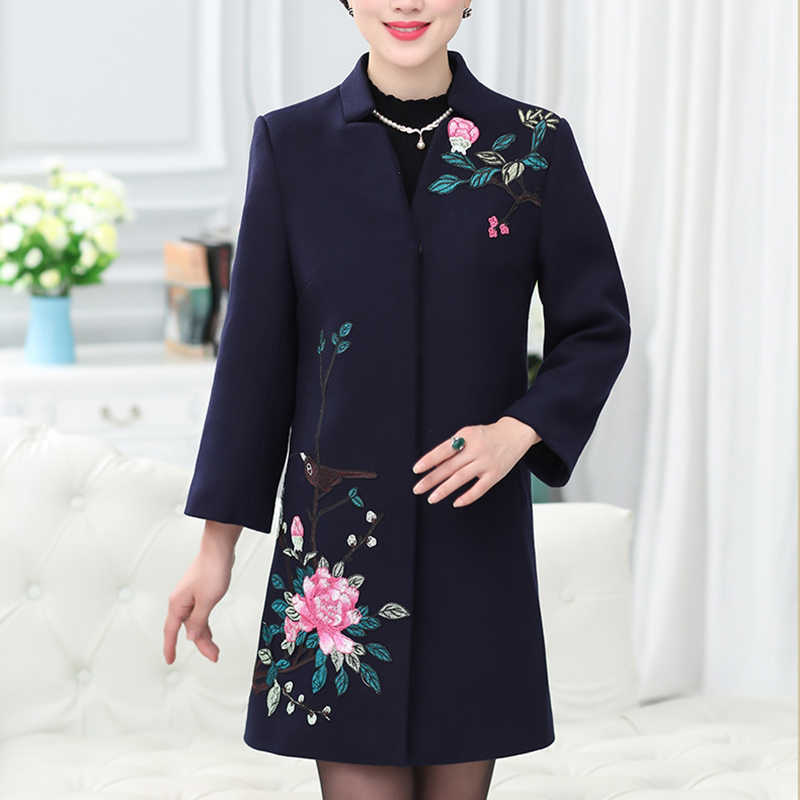 2019 winter woolen coat in the long section of embroidered single-breasted cotton coat women's woolen coat l103