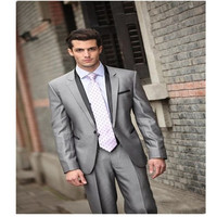 Hot Sale Men Wedding Groom Tuxedos Groomsmen Best Man Suit Party Prom Tuxedos chinese collar suit 2 pieces (jacket + pants)