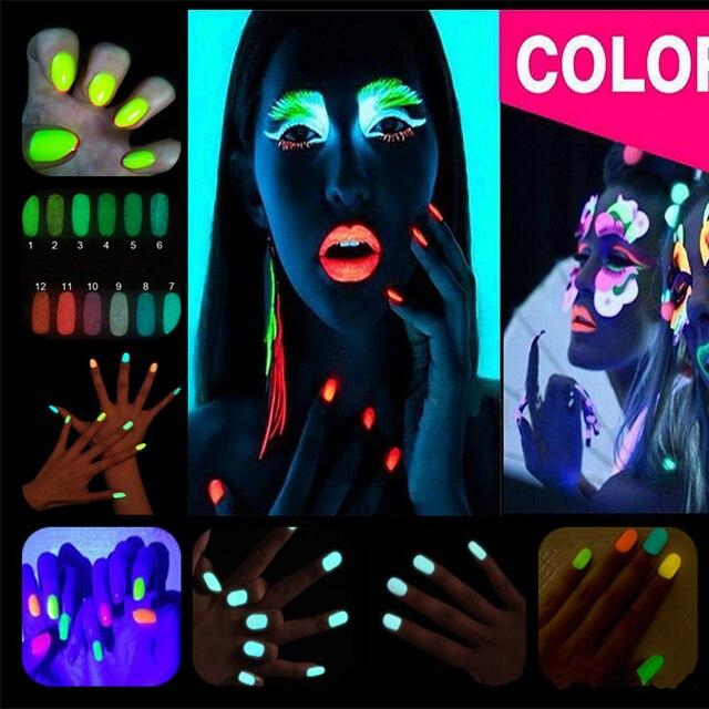 2016 Nowy 10g Proszkiem Fluorescencyjnym DIY Jasne Nail Art Glow W The Dark Glow Luminous Pigment Pyłu Piasku Proszku Brokat Do Paznokci GM848