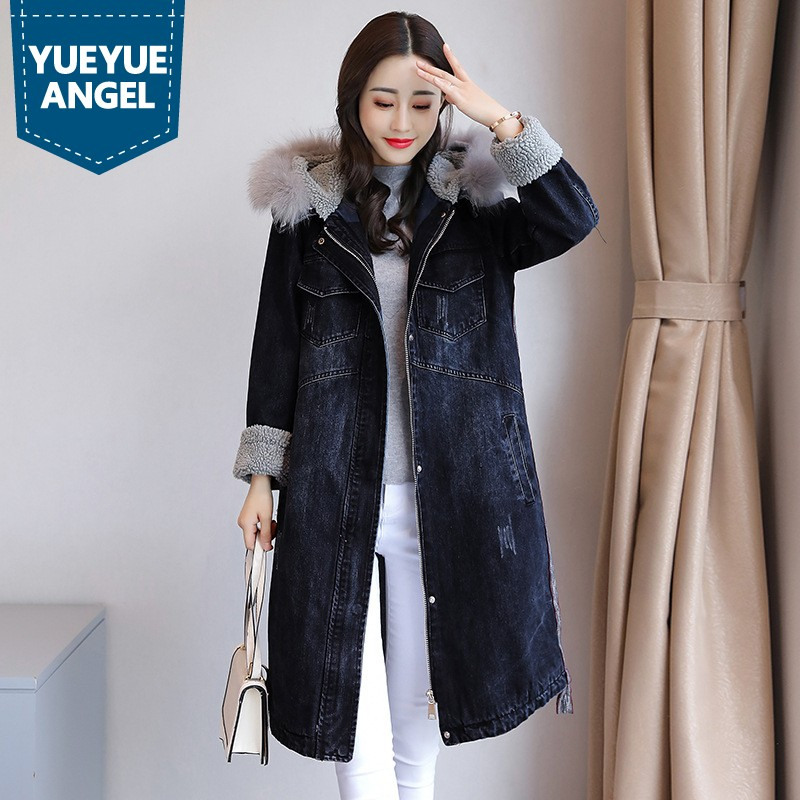 Winter Thick Warm Lambswool Women   Trench   Coat Boyfriend Style Loose Fur Collar Hooded Cowboy Overcoat Female Denim Windbreaker